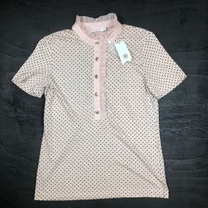 Tory Burch sz Med Pink & Black Polka Dot Linen Top